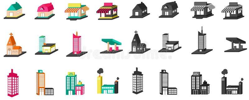 3D sylwetki kolorowy dom, kościół, sklep, budynek i inny, royalty ilustracja