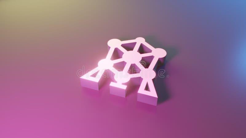 3d symbol of atomium icon render stock illustration