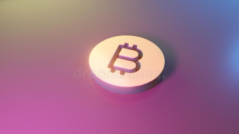 3d symbol of bitcoin coin icon render. 3d symbol of bitcoin as coin render on colorful blue violet fill smooth background royalty free illustration