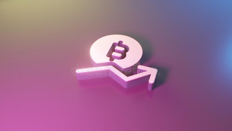 3d symbol of bitcoin trend icon render. 3d symbol of bitcoin with growing trend render on colorful blue violet fill smooth background vector illustration