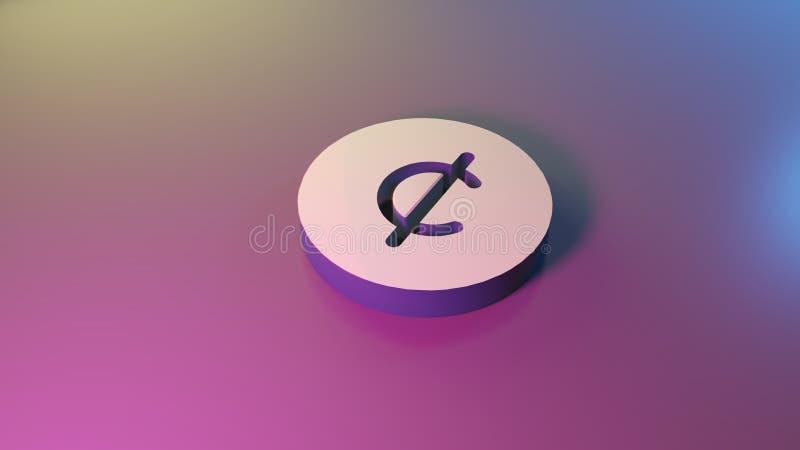 3d symbol of cent icon render. 3d symbol of cent render on colorful blue violet fill smooth background vector illustration