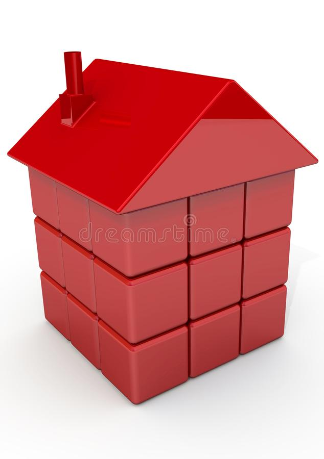 The house made from red cubes. The 3d symbol of house made from red cubes. Isolated. 3D Illustration royalty free illustration