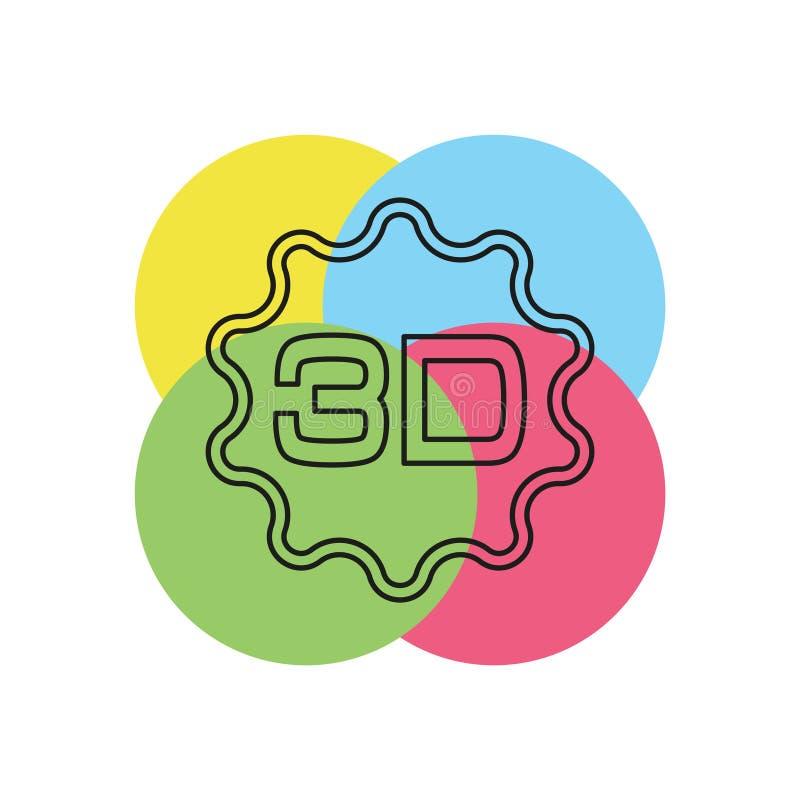 3d symbol - illustration för vektorfilmbio stock illustrationer