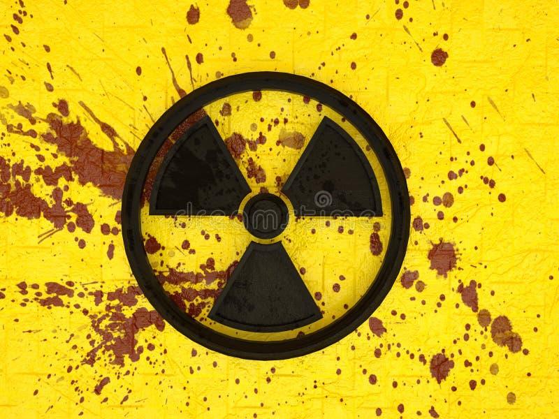 3d symbol jądrowy zanieczyszczenie na żółtej ścianie z cegieł z krwionośnymi splatters ilustracji