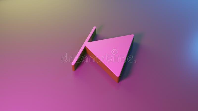 3d symbol of stop back left icon render vector illustration