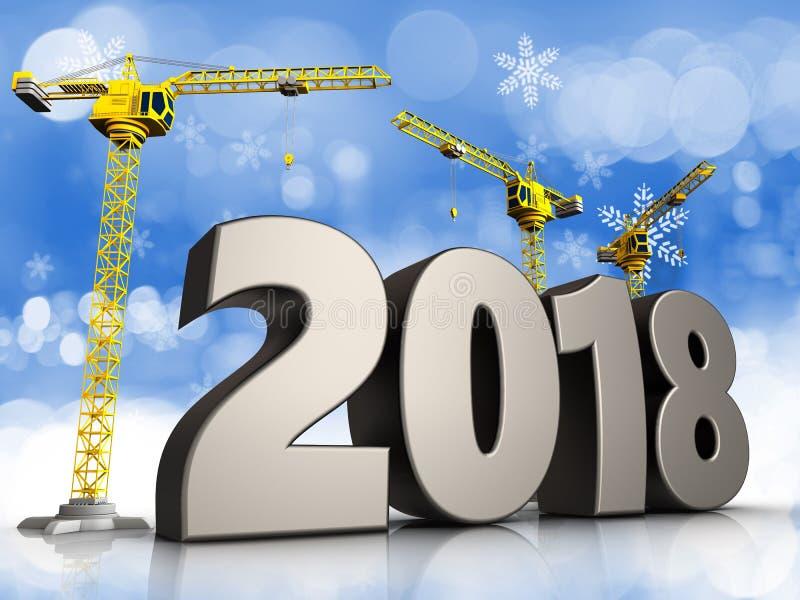 3d symbole de 2018 ans illustration de vecteur