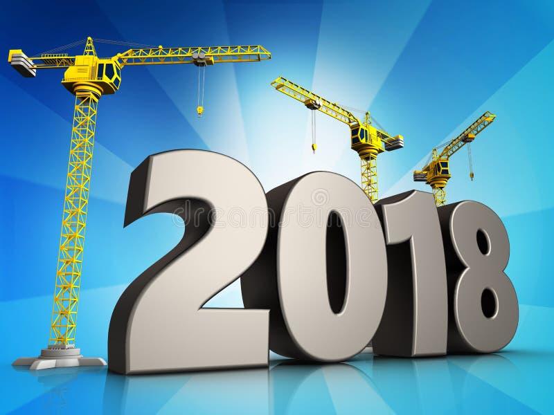 3d symbole de 2018 ans illustration stock