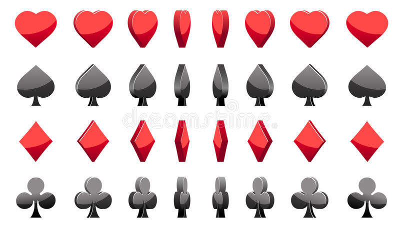 3D symbols poker cards, vector animation game rotation stock illustration