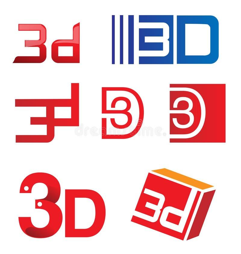 3d symbolu set ilustracja wektor
