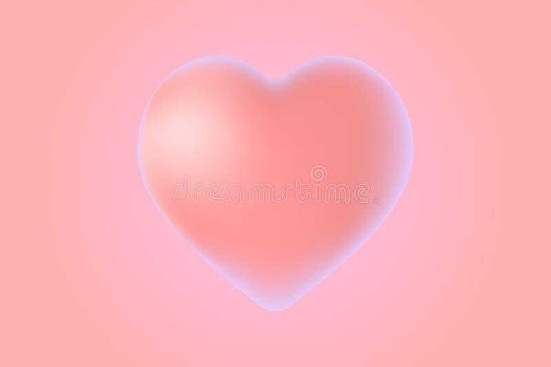 3d symbool roze hart met violette gloed royalty-vrije illustratie