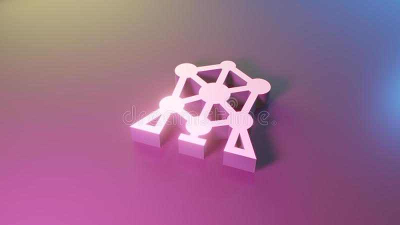 3d symbool van atomiumpictogram geeft terug stock illustratie