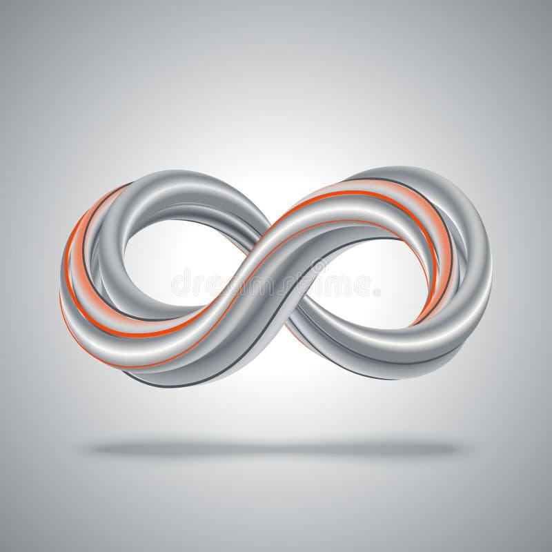 3D symbool van de Oneindigheid Abstracte mathachtergrond vector illustratie