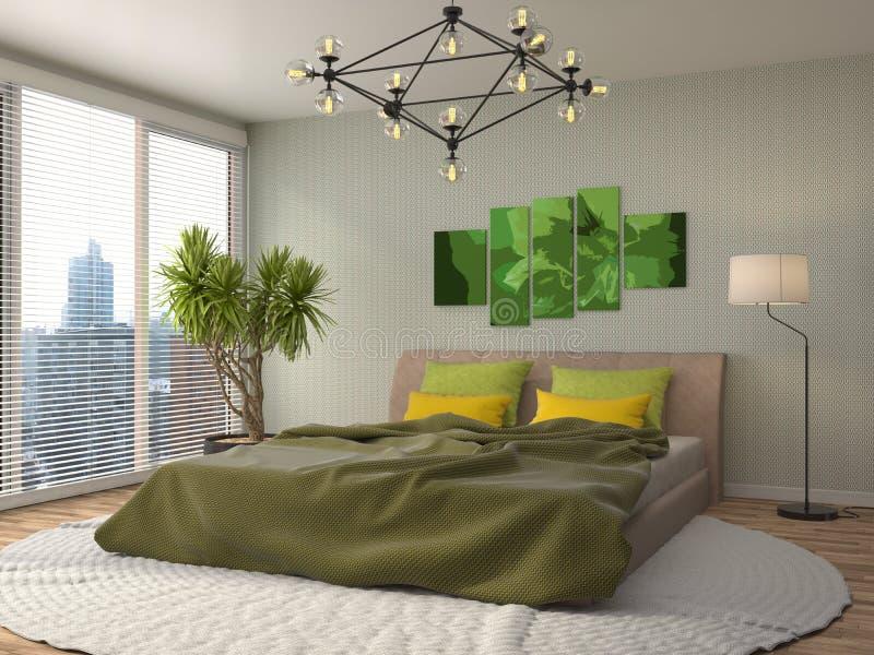 3 d sypialni otoczenia wewnętrznej pozbawione piorun ilustracja 3 d ilustracja wektor