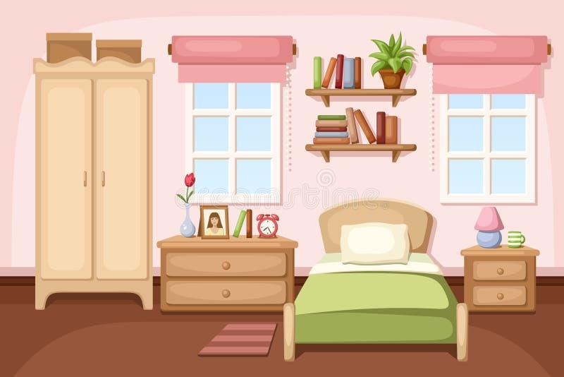 3 d sypialni otoczenia wewnętrznej pozbawione piorun również zwrócić corel ilustracji wektora ilustracji