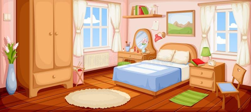 3 d sypialni otoczenia wewnętrznej pozbawione piorun również zwrócić corel ilustracji wektora ilustracja wektor