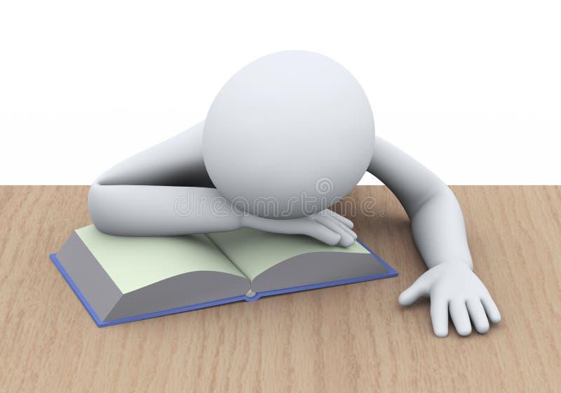 3d sypialny uczeń z książką ilustracja wektor