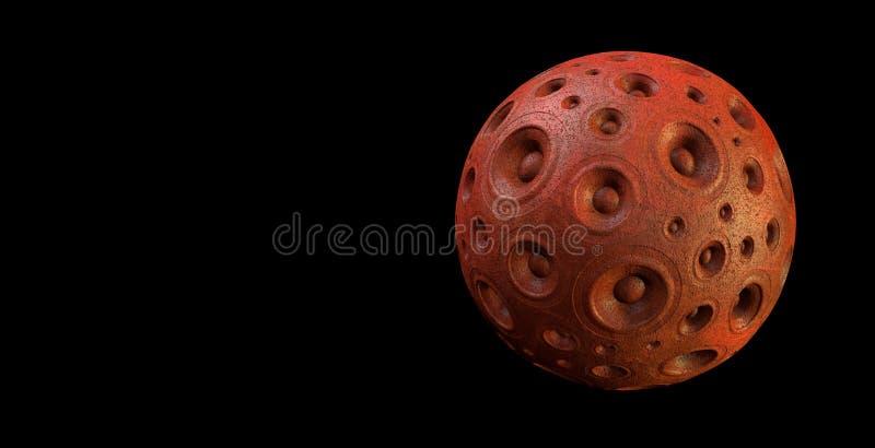 3d systemu dźwiękowego czerwona głośnikowa planeta nad czernią ilustracji
