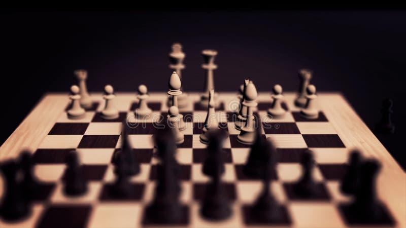 3D szachy pojęcie Szachowa deska z bierki pętlą z alfą Szachowa gry planszowa animacja Szachowa deska z kawałkami obrazy royalty free