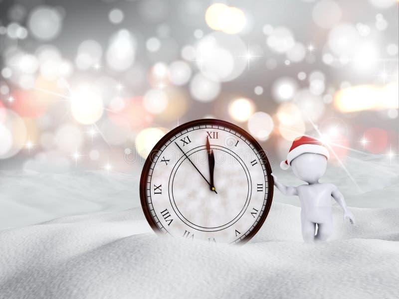 3D Szczęśliwego nowego roku śnieżna scena z postacią i zegarem ilustracja wektor