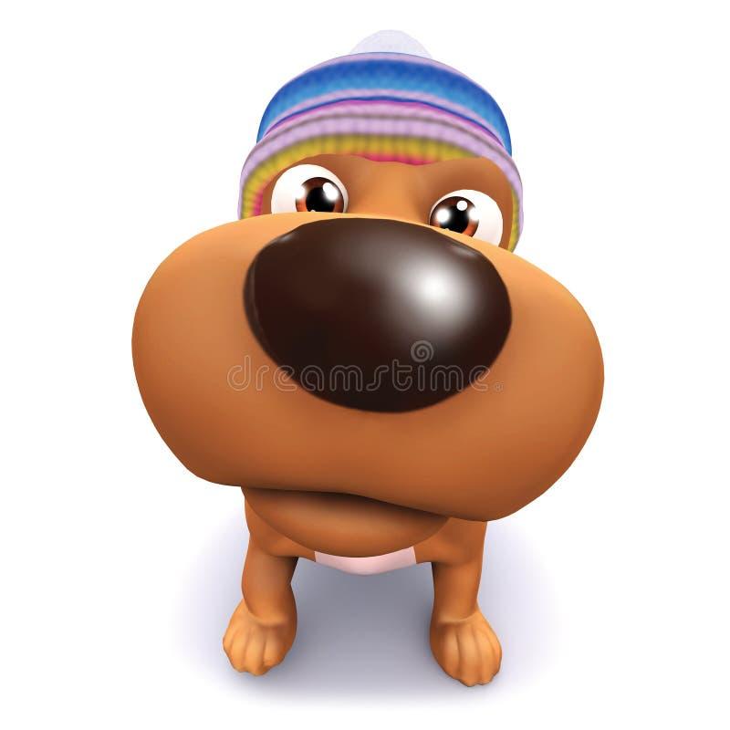 3d szczeniaka Śliczny pies dużego nos ilustracji