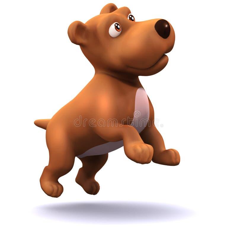 3d szczeniaka pies przeskakuje w powietrzu ilustracja wektor