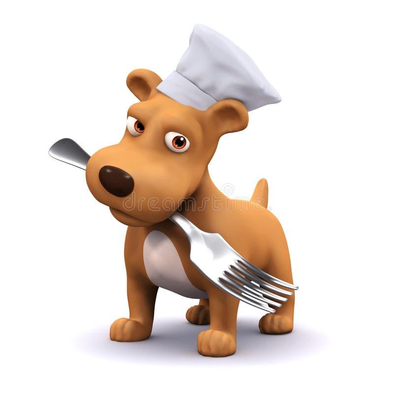 3d szczeniaka psa szef kuchni z rozwidleniem ilustracja wektor