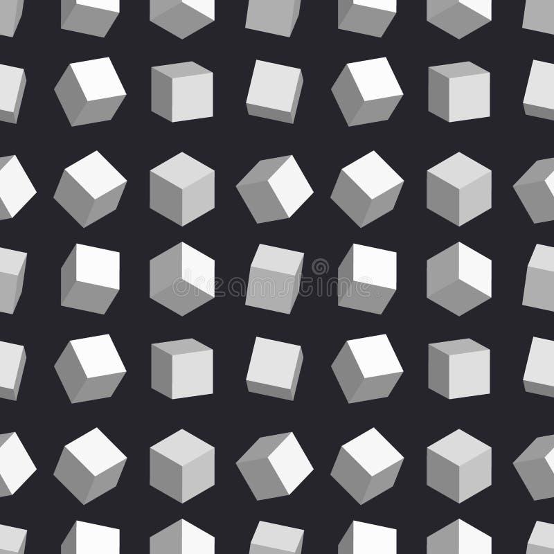 3D sześcianów wektoru pudełka kwadrata bezszwowego deseniowego geometrycznego kształta isometric blokowa ilustracja royalty ilustracja