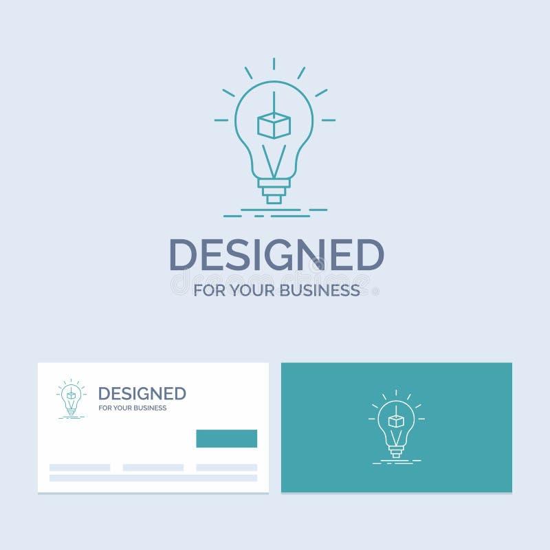 3d sześcian, pomysł, żarówka, druk, pudełkowaty Biznesowy logo linii ikony symbol dla twój biznesu Turkusowe wizyt?wki z gatunku  ilustracja wektor