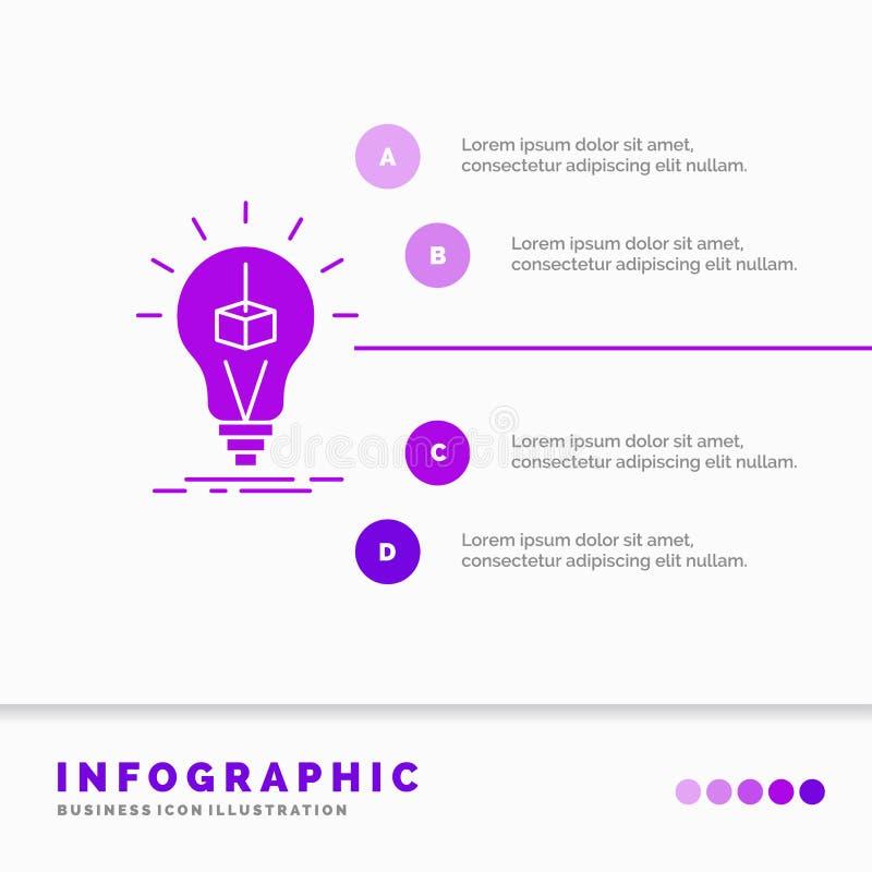 3d sze?cian, pomys?, ?ar?wka, druk, pude?kowaty Infographics szablon dla strony internetowej i prezentacja, glif Purpurowej ikony ilustracji