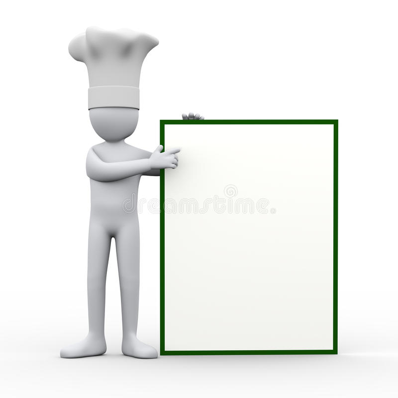 3d szef kuchni wskazuje puste miejsce deska royalty ilustracja