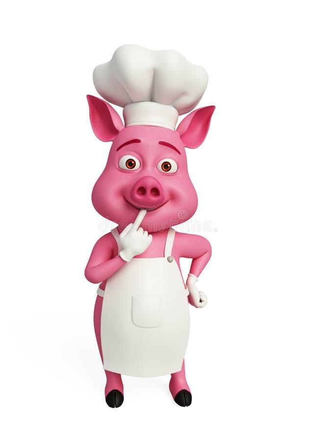 3d szefa kuchni świnia myśleć ilustracja wektor