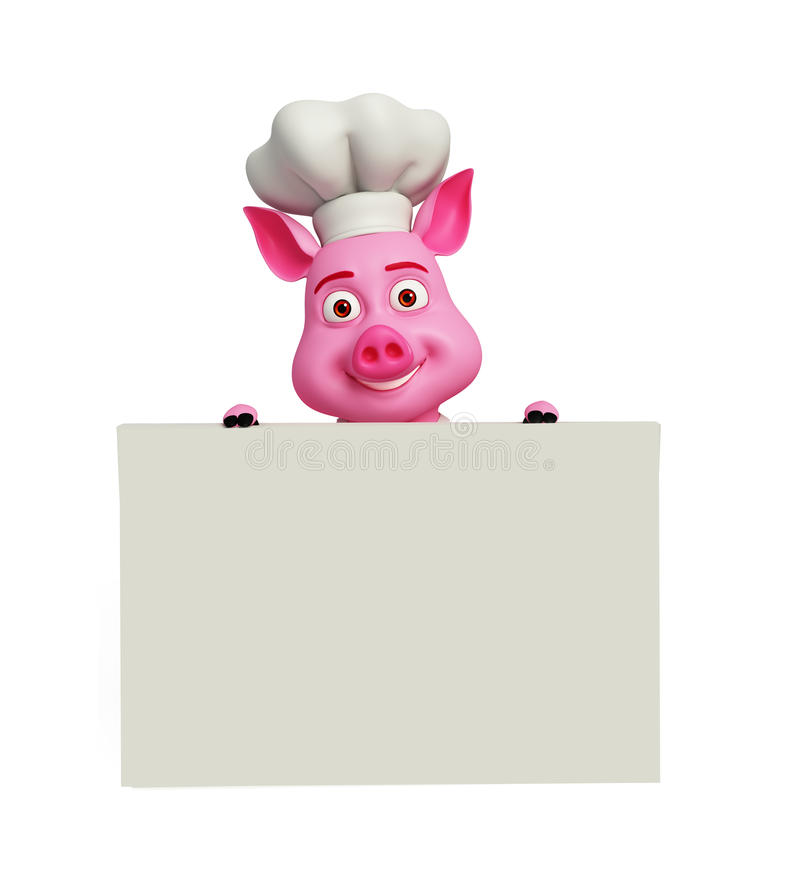 3d szefa kuchni świnia z białą deską ilustracja wektor