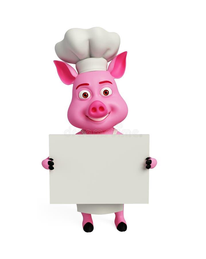 3d szefa kuchni świnia z białą deską royalty ilustracja