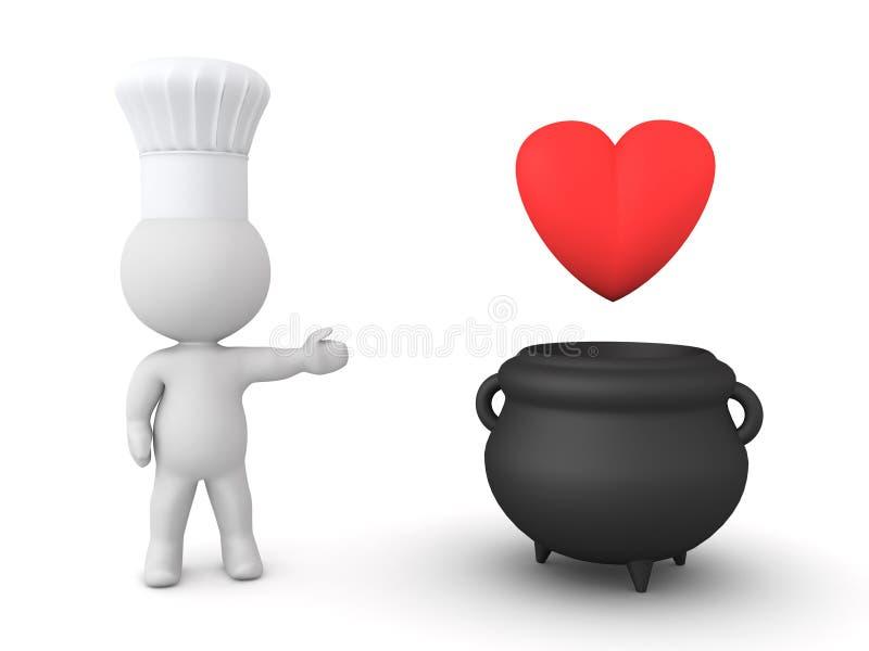 3D szefa kuchni miłości kulinarny napój miłosny ilustracja wektor