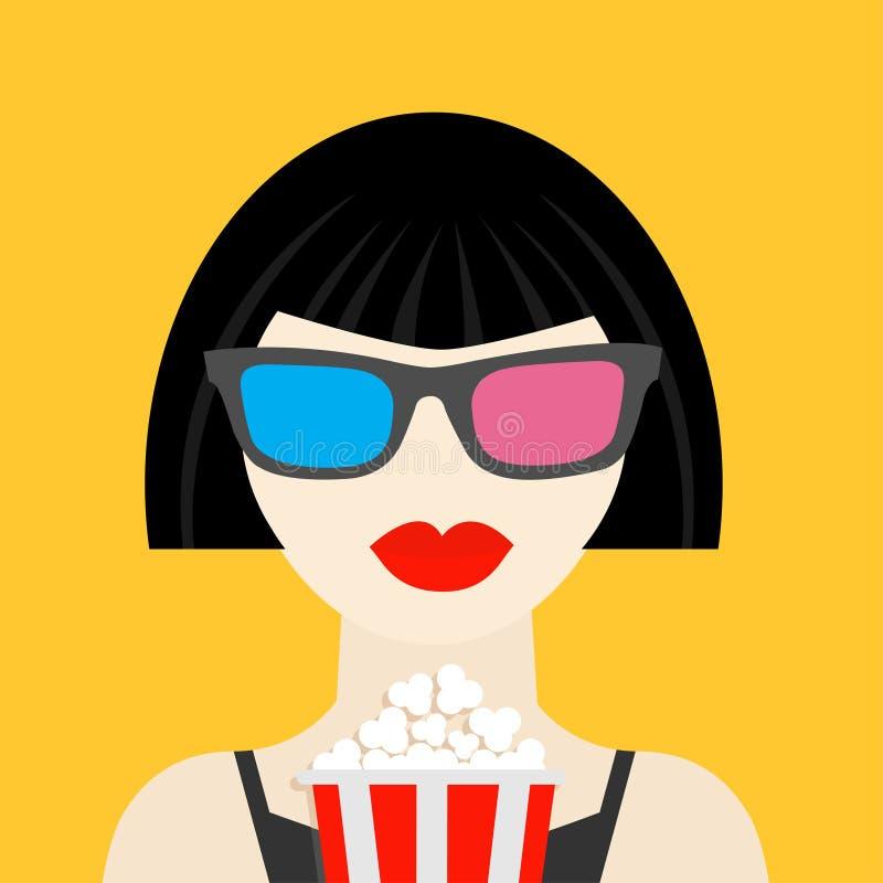 3D szkła i duży popkorn Brunet dziewczyna przy Kinowej theatre czerni sukni dsign stylu Płaską ikoną ilustracja wektor