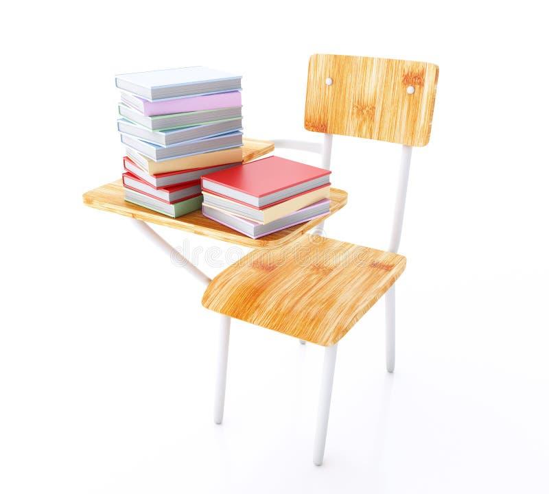 3d szkoły biurko z stertą książki ilustracja wektor