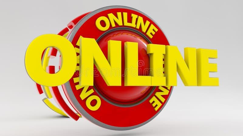 3d szyldowy Online tekst ilustracja wektor