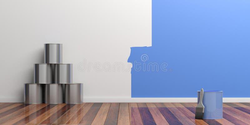 3d tömmer den home väggen för illustrationmålningsrenovering Renoveringbegrepp illustration 3d stock illustrationer