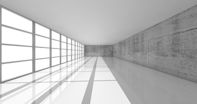 3d tömmer den vita öppet utrymmeinre med ljusa fönster stock illustrationer