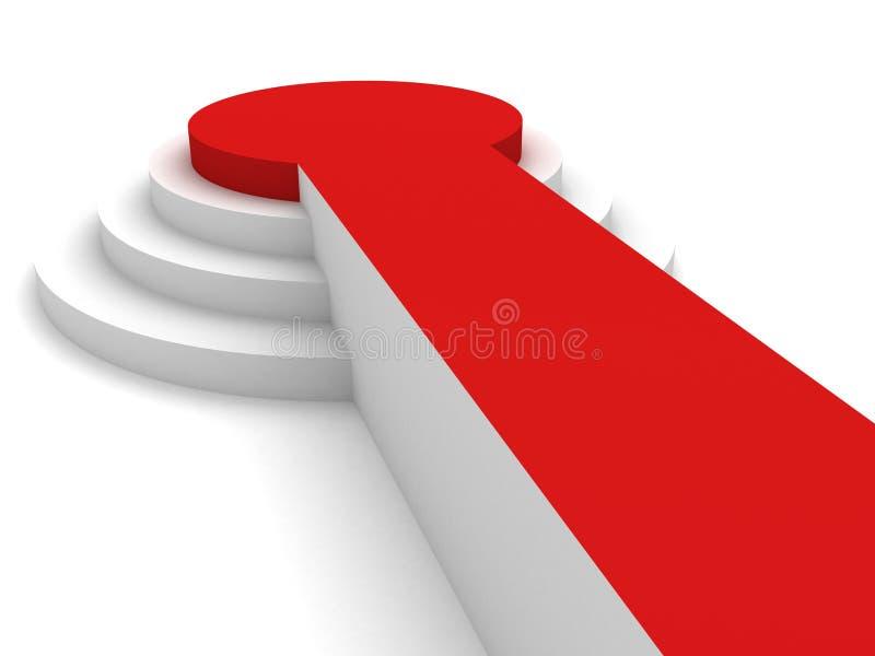 3d tömmer det vita podiet med röd matta royaltyfri illustrationer
