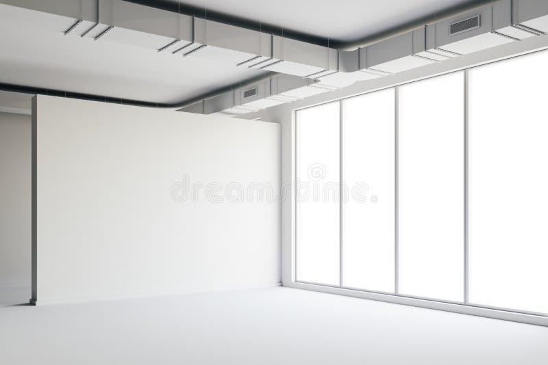 3d tömmer utrymmeinre med stora fönster och sikt vektor illustrationer