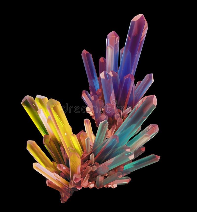 3d tęczy abstrakcjonistyczny kryształ, klejnot, odizolowywający krystalizujący kształt zdjęcia stock