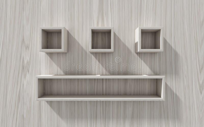 3d tła pusta eksponata ilustracja odizolowywał wektorowego półki drewno ilustracja wektor