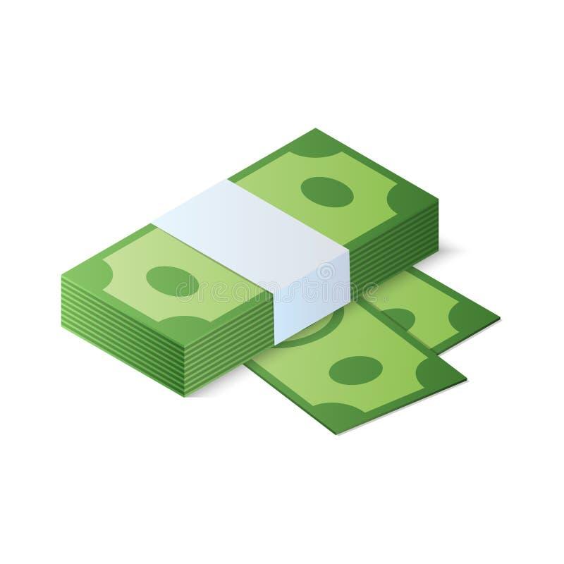 3d tła rachunków dolar odpłaca się sterta biel Isometric Wektorowa ilustracja royalty ilustracja