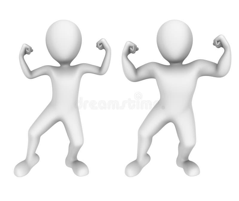 3d tła wizerunek odizolowywający ludzie małego biel Słaby i silny ilustracja wektor