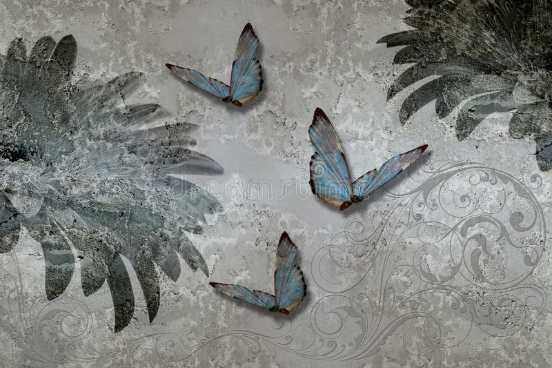 3d t?o, bia?e orchidee na betonowej ?ciany malowid?a ?ciennego tapecie Fresku skutek royalty ilustracja