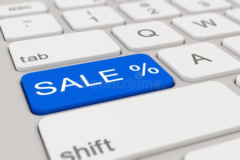3d - tangentbord - försäljning - blått royaltyfri illustrationer