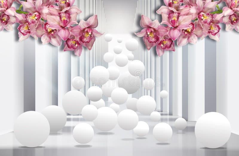 3D tapeta, architektura tunel z różowymi orchideami i sfery, royalty ilustracja