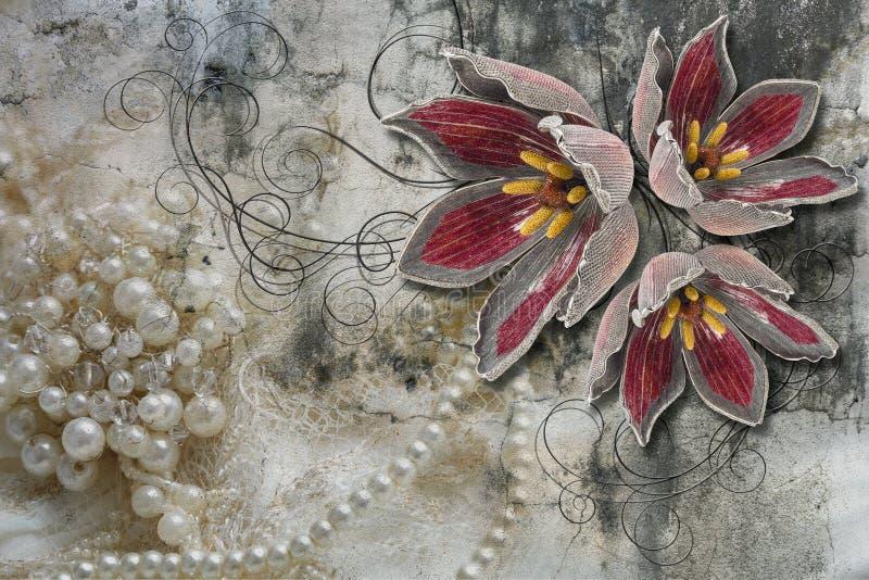 3d tapeta, bukiet kwiaty na koronce i betonowej ściany tło, Malowid?o ?cienne skutek royalty ilustracja