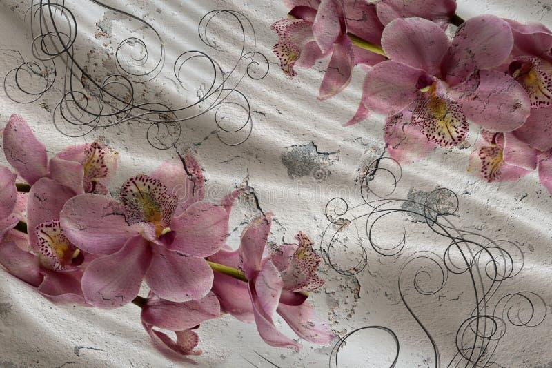 3d tapeta, bukiet orchidee na jedwabiu i betonowej ściany tło, Malowid?o ?cienne skutek royalty ilustracja